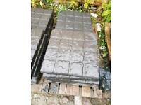 Charcoal 450x450x38 cobbled effect concrete paving slabs