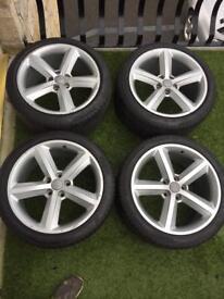 """Audi S-Line Alloy Wheels 18"""" (Very Good Pirelli P Zero Tyres)"""