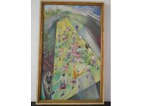Large Oil Painting on Canvas of Football Match in Motion.