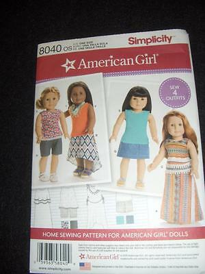 "18""Doll American Girl NEW Simplicity 8040 Pattern 4 Summer Outfits"