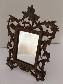 Decorative Table Mirror. Metal, 'Bronzed Effect'.