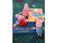 Two Peppa Pig books with soft toys