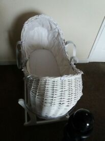 Mothercare White Wicker Moses Basket With Rocking Stand