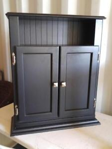 "Oakville SLIM CUPBOARD WOOD BLACK 22"" x 9"" x 28"" high Great for bathroom bedroom kitchen storage cabinet low"
