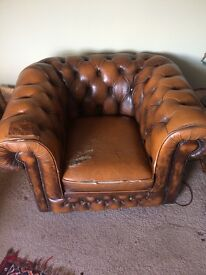 Brown leather Armchair for sale!