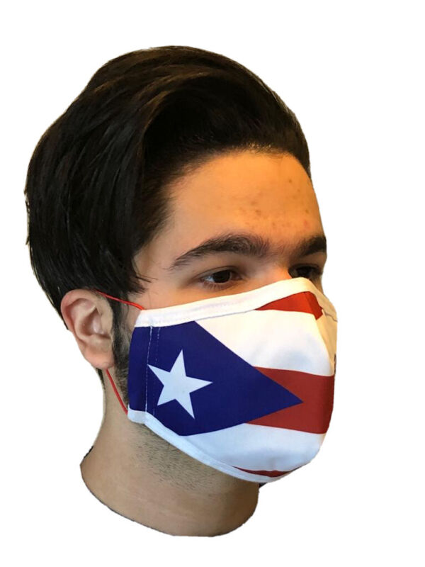 Face Mask- Sublimated-Puerto Rico -Washable Reusable- Multi Layer Ships From USA