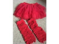 Girls red ballet tutu and leg warmers age 2-3 year