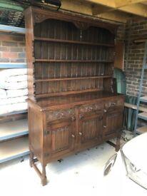 Dresser, dark brown wood, two piece, dresser sideboard