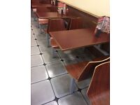 Fast food table and chairs, 12 tables and 48 chairs