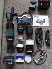 Pentax ME Super SLR 35mm film camera, tripod and accessories