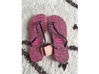 Havianas Pink Leopard Print European Size 41/42