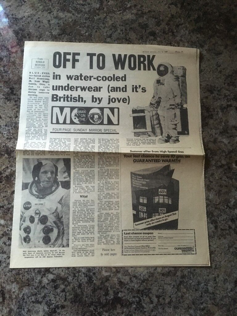 FIRST MOON LANDING 1969 NEWSPAPER REPORTS CUTTINGS