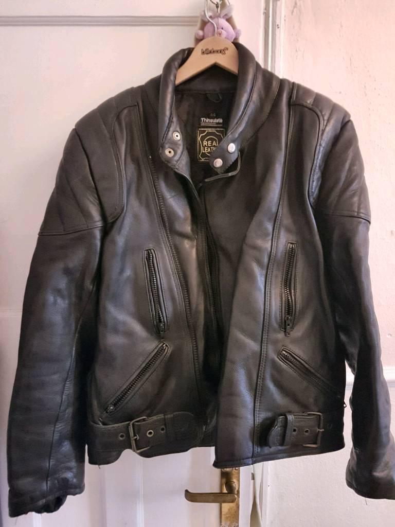 Black leather padded motorcycle jacket.