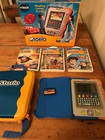 Vtech Storio E-reader with box, carrycase/backpack, 4x cartridges