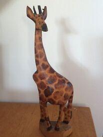 African hand carved wooden giraffe