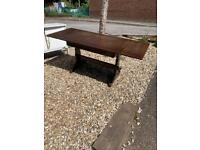 Ercol oak mid century extending drawer leaf table in stained wood finish,