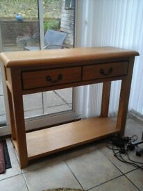 Solid Oak hall or kitchen console table with two drawers. .