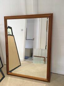 Beautiful pine framed bevelled glass mirror 126cms X 96cms