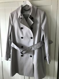 LKBennett ladies trench coat, new and unworn. Colour Mist with matching lining. Length 90cm, size 16