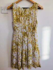 White & yellow h&m floral dress