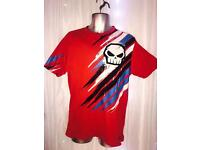 Men's no fear red tshirt skull M