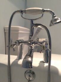 Vintage style bath taps with shower attachment
