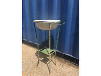 Vintage Antique Metal Wash Stand or Planter with Enamel Bowl