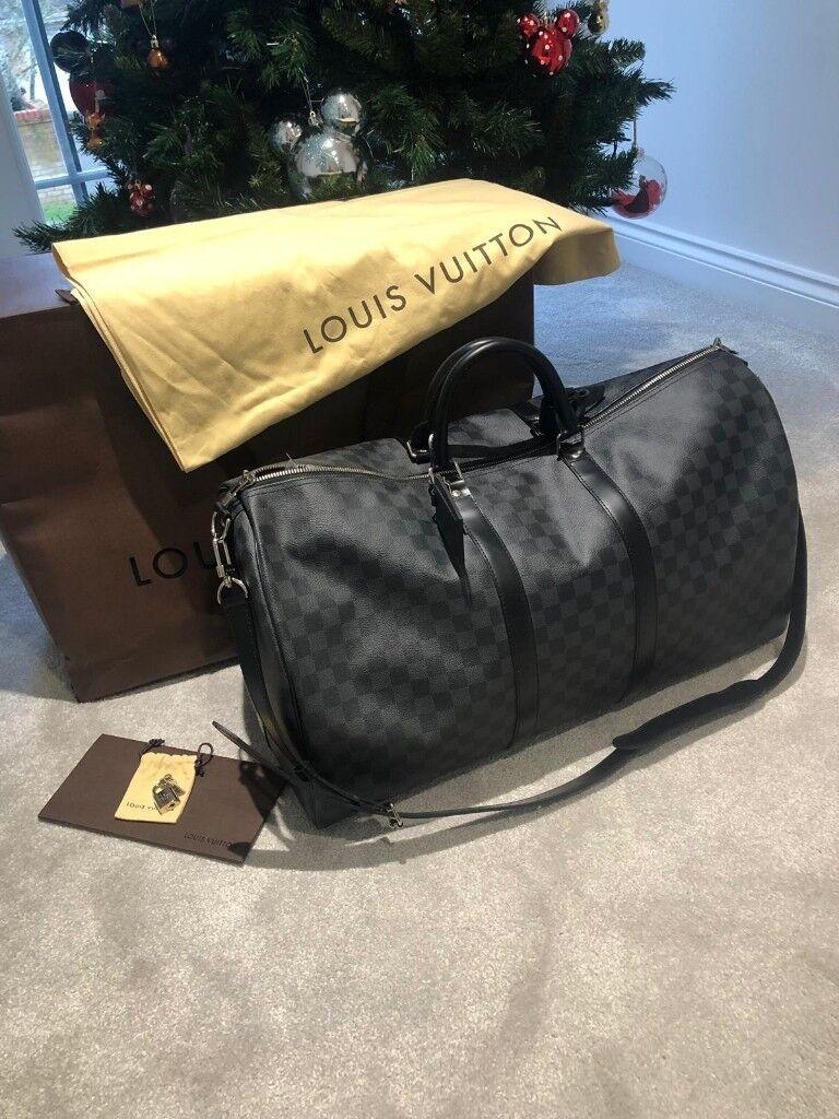 db72a20763fe0 Louis Vuitton Keepall Bandoulière 55 (Damier Graphite Canvas) - 100% Genuine
