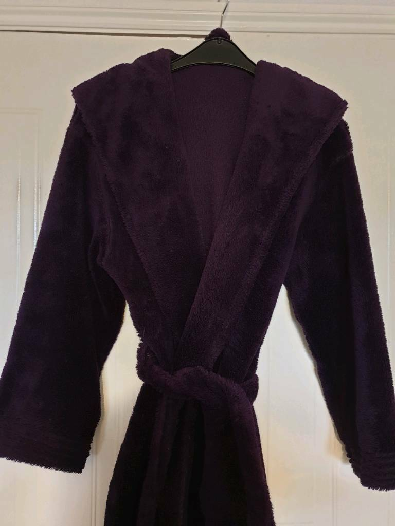 c3632ffaf5 Deep plum supersoft cosy hooded fleece dressing gown