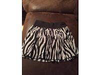 Zebra print skirt H&M size 10
