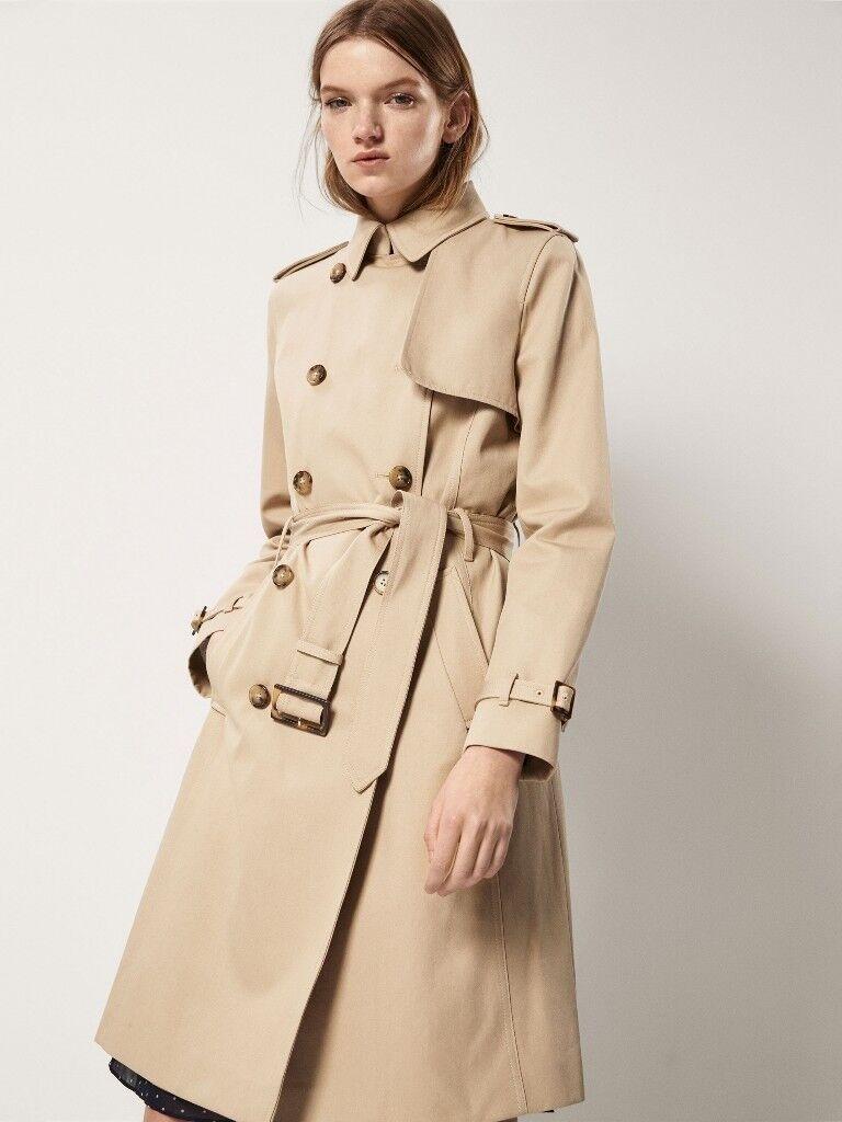 Ladies Designer Massimo Dutti Camel Cream Beige Trench