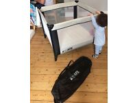 iSafe Zapp And Nap Luxury Square Travel Cot/Playpen - Black/Grey