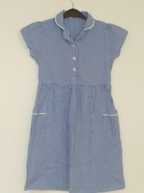 Pre-worn 3 Blue Gingham Marks and Spencers School Summer Dresses Size 7 years