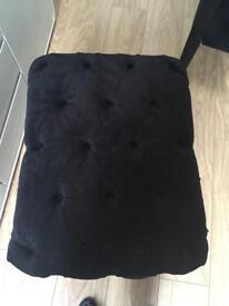 Black velour stool