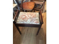 Piano stool with storage in seat . Handles at side . Size L 19.5in D 13.5in Seat Height 20 in.
