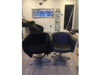 Two salon chairs,