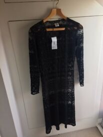 Collette Dinnigan black lace dress / size 8 / never worn BNWT