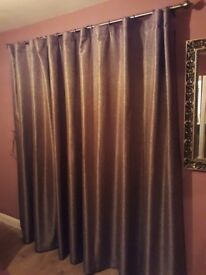 New Unused Bronze Coloured Lined Pleated Curtain