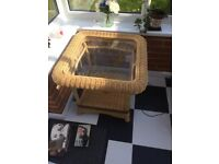 REDUCED FOR QUICK SALE Wicker side / occasional glass top table