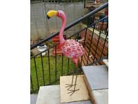 Brand new large metal 3ft free standing solar powered flamingo
