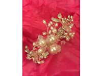Wedding Headdress with Crystals & Pearls - side setting on Alice band