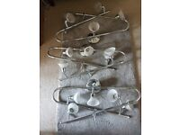 3 bendable ceiling lights in chrome with frosted glass shades