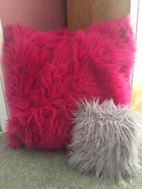 XL FLUFFY FUCHSIA PILLOW and SM LILAC PILLOW