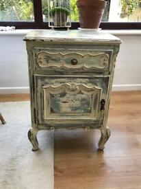 Reclaimed Distressed unit side table storage