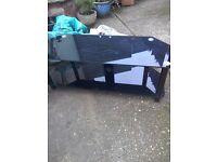 Black glass TV stand. FREE.