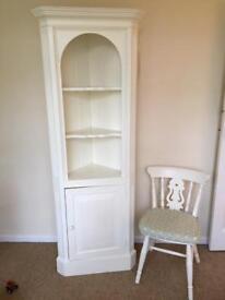 Vintage Cream painted corner cupboard