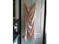 House of CB - 'Coco' Nude Satin Draped Back Dress - Never Worn