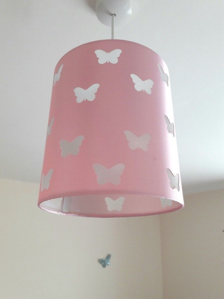 Pink butterfly lamp shade in kesgrave suffolk gumtree pink butterfly lamp shade aloadofball Images