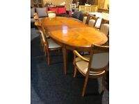 9ft geat condition table and eight lovely solid clean chairs
