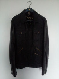 Messagerie Couture #4 Jeans Jacket Leather Sleeves Black Size XL